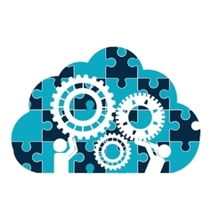 pictograms gears cloud teamwork support design vector image