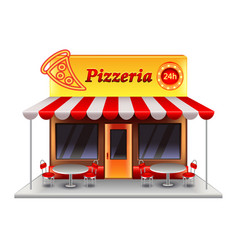 pizzeria building isolated on white vector image