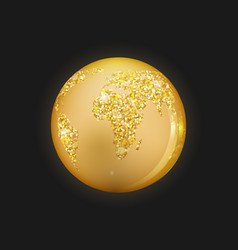planet earth is golden colored with sparkles on a vector image