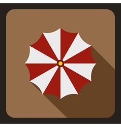 Red and white beach umbrella icon flat style vector image