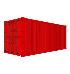 Red cargo container vector