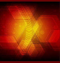 red technology hexagon abstract pattern background vector image