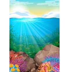 Scene with view under the ocean vector
