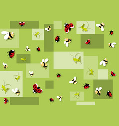 Seamless baby pattern with beetles vector