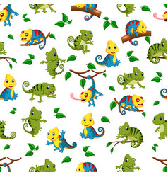 seamless pattern with collection of the chameleon vector image