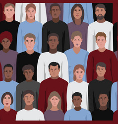 Seamless pattern with people faces vector