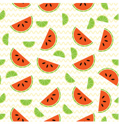 seamless pattern with watermelon and lime slices vector image