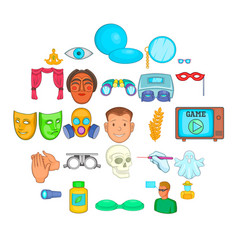 seeing icons set cartoon style vector image