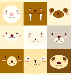 set of avatars icons with faces of cute animals vector image