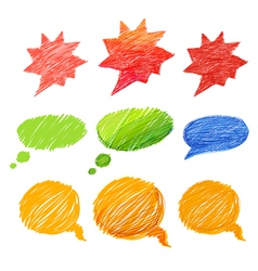 Set of comic style colorful hand-drawn talk clouds vector