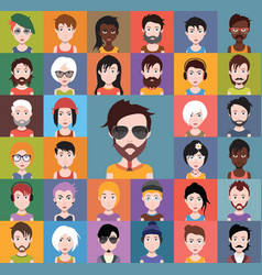 set of different avatars vector image