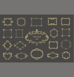 set of gold vintage floral frames and monograms vector image