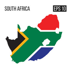 South africa map border with flag eps10 vector