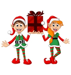 two Christmas elf holding a gift vector image