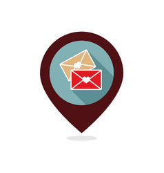 two envelope pin map icon love letter vector image