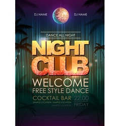 Typography Disco background Night Club poster vector image