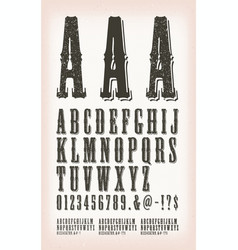 Vintage grunge and tattoo abc font vector