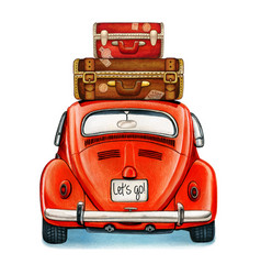 watercolor shiny vintage car with luggage back vector image