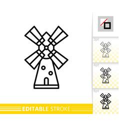 Windmill mill farm simple thin line icon vector