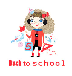 with cheerful girl going to school vector image
