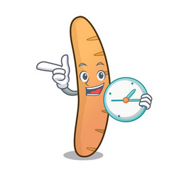 With clock baguette character cartoon style vector