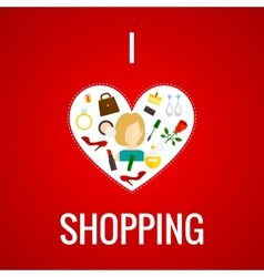 Woman shopping heart icon flat vector image