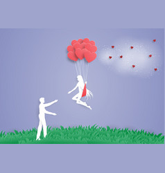 women on heart balloon go to man couple lovepaper vector image