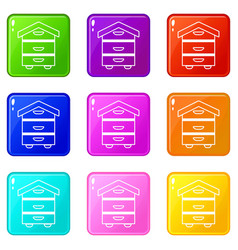 wood beehive icons set 9 color collection vector image
