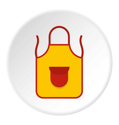 Yellow apron with red pocket icon circle vector