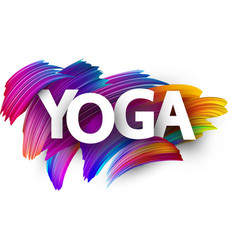 yoga paper poster with colorful brush strokes vector image
