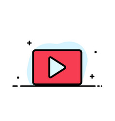 Youtube paly video player business flat line vector