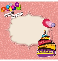 Birthday card with cake and balloons vector image
