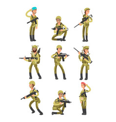 cartoon soldiers in various actions military men vector image vector image