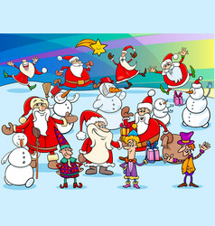 christmas cartoon characters group vector image vector image