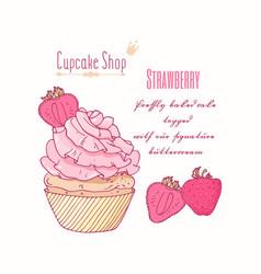 hand drawn cupcake strawberry flavor vector image