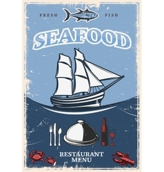 Stylized Seafood Poster vector image