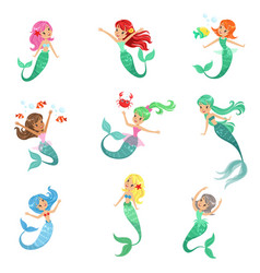 beautiful fairy tale mermaid princess with vector image