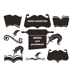 Books silhouettes collection vector