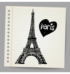 Eiffel Tower Doodle vector image vector image