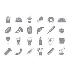 Junk food gray icons vector image