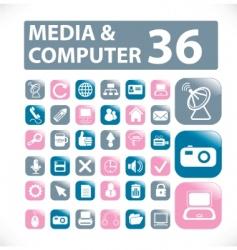 media computer buttons vector vector image vector image