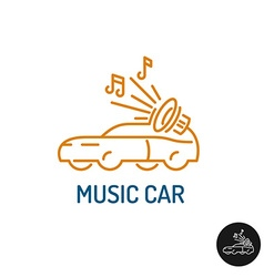 Music car logo linear style vehicle silhouette vector image vector image