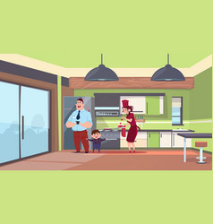 woman in cook uniform giving cake to man and boy vector image