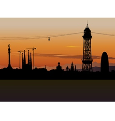 Barcelona Cable Car Tower vector image vector image