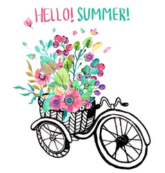 Bike and watercolor flowers vector image vector image