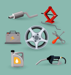 car service set worker near expensive automobile vector image vector image