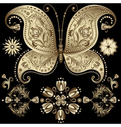 gold vintage butterfly vector image