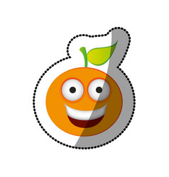 colorful kawaii fruit orange happy icon vector image vector image