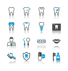 Dental icons reflection vector