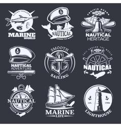 Nautical Emblem Set On Black vector image